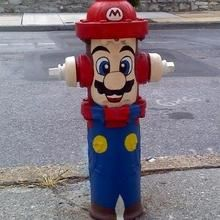 Mario as a painted fire hydrant