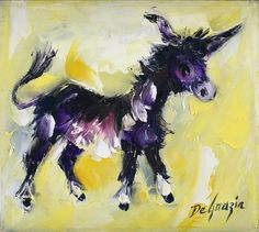 DeGrazia's animals, oil on canvas. The Gallery in the Sun is open daily from 10-4; free admission. #NationalHistoricDistrict #DeGrazia #Artist #Ettore #Ted #GalleryInTheSun #ArtGallery #Gallery #Adobe #Architecture #Tucson #Arizona #AZ #Catalinas #Animals #Donkey #Burro #Oil #Paintings #degrazia #teddegrazia