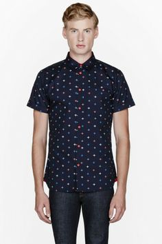 d0fdd629607 Men s Navy Blue Morris Star Buttoned Shirt