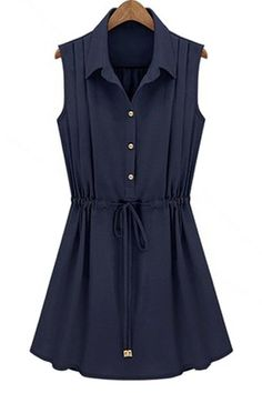 $10.54 Solid Color Casual Turn-Down Collar Single Breasted Drawstring Sleeveless Dress For Women