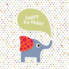 Elephant Birthday Card Vector Graphic