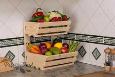 2 tier Wall mountable handmade vegetable& rack Classic, made from first class planed pain. This solid racks will be a great and useful addition to your kitchen Rack is sold fully assembled. Produce Storage, Fruit Storage, Food Storage, Storage Ideas, Pallet Furniture, Kitchen Furniture, Kitchen Decor, Furniture Storage, Furniture Outlet