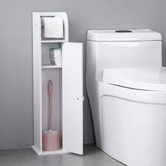 Bathroom Storage Narrow Cabinet with Paper Roll Slim Bathroom Storage Cabinet, Bathroom Floor Cabinets, Cupboard Shelves, Bath Cabinets, Toilet Storage, Bathroom Flooring, Storage Cabinets, Storage Drawers, Bathroom Furniture