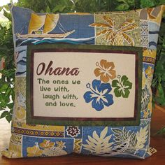 #Hawaiian #Ohana Family Embroidered Quote Pillow by MrsStitchesDesigns, $40.00