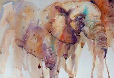 Jean Haines - Elephants. Aquarela