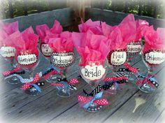 bride and bridesmaid wine glasses. Give at bachlorette party as favors?