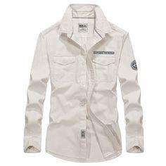Large Sizee 4XL Spring Autumn Men Shirts Long Sleeve Fashion Cotton Shirt Brand White Blue Casual Shirts Slim Fit Men's Clothing #Affiliate