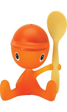 """Alessi """"Cico"""" Egg Cup With Salt Castor And Spoon in Thermoplastic Resin, Sweet Orange Best Price"""