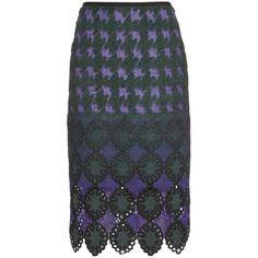 Erdem Safia jacquard pencil skirt (25.418.020 VND) ❤ liked on Polyvore featuring skirts, purple multi, erdem skirt, textured skirt, knee length pencil skirt, erdem and jacquard skirt