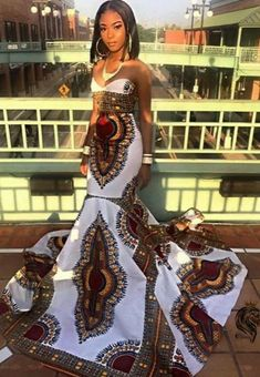 Women's Mermaid Dress or Gown in African Ankara Dashiki Kente Print (WHITE RED GOLD Burgundy Multicolored Fabric) - Women's style: Patterns of sustainability African Formal Dress, African Prom Dresses, African Wedding Dress, African Dresses For Women, African Attire, African Fashion Dresses, Ankara Fashion, African Women, African Outfits