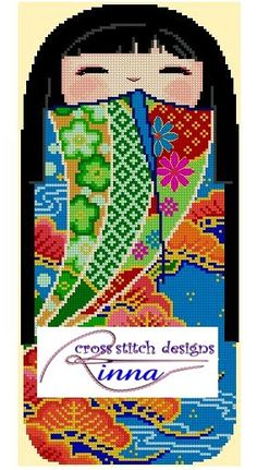 Kokeshi Girl Doll - HIROKO  Cross Stitch Pattern/ Design
