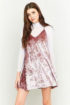 Pins & Needles V-Neck Velvet Slip Dress Velvet Shirt Dress, Pink Velvet Dress, White Velvet, Dress Outfits, Casual Dresses, Cute Outfits, Fashion Outfits, Sun Dresses, Low V Neck Dress