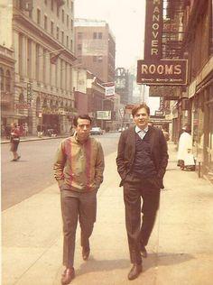 Sergio Mendes and Antonio Carlos Jobim strolling the streets on Manhattan in 1962.