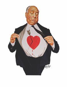 Hitchcock Heartbreaker by Josh Kirby. Image © Josh Kirby Estate. #alfred #hitchcock #horror #joshkirby