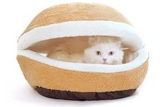 Modovo Washable Shell-shaped Burger Bun Pet Bed Cat Bed Dog Sleeping Bag for 12 Pounds Pet (M-size) - Pets Cat Condo, Sleeping Dogs, Pet Puppy, Big Dogs, Dog Care, Cool Cats, Dog Bed, Pet Supplies, Grumpy Cat