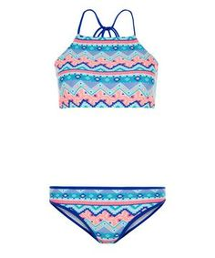 Teens Blue Abstract Print High Neck Bikini Set | New Look