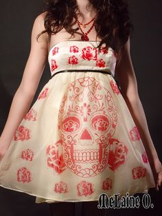 Sugar Skull dress  Day of the dead party dress  by mclaineo, $350.00