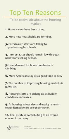 Top Ten Reasons to be Optimistic about the Housing Market     Real Estate, Realtor, San Diego, Riverside, Listing, Selling, Home, Places, Favorite, Best, Cool, Market, 2013, stuff, love, try, DIY