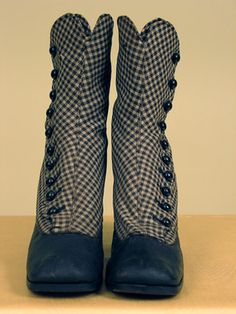 Lady's Gingham Hi-Button Boots, 1860-1870