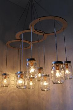 Mason Jar Chandelier, Large Rustic Mason Jar Pendant Lamp Lighting Fixture by BootsNGus, 10 Clear Ball Jars, Bulbs Included Einmachglas Kronleuchter Leuchte Large Rustikal von [. Rustic Mason Jars, Chandelier Lighting Fixtures, Canopy Lights, Rustic Lighting, Mason Jar Pendants, Mason Jar Chandelier, Jar Lights, Light Fixtures, Jar Chandelier
