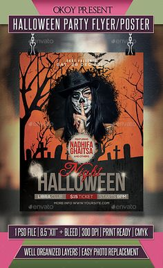 Buy Halloween Party Flyer / Poster by OKOY on GraphicRiver. Halloween Party flyer templates or poster template designed to promote any kind of music event, concert, festival, pa. Halloween Party Flyer, Halloween Poster, Horror Nights, Flyer Layout, Club Parties, Halloween Design, Print Templates, Best Part Of Me, Flyer Template