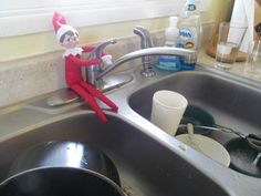 Love these Christian Elf on the Shelf ideas! Especially the elf doing dishes :)