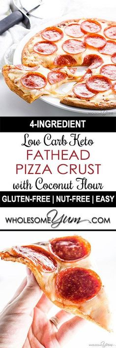Fathead Pizza Crust (Low Carb, Keto, Gluten-free, Nut-free) – 4 Ingredients - This low carb keto Fathead pizza crust recipe with coconut flour is so easy with only 4 ingredients! It's nut-free and glu (Favorite Recipes Low Carb) Ketogenic Recipes, Diet Recipes, Cooking Recipes, Recipes Dinner, Healthy Recipes, Pizza Recipes, Lunch Recipes, Dinner Ideas, Breakfast Recipes