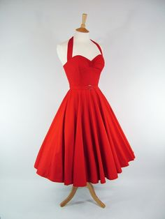 Made To Measure Red Full Circle Dress - Detachable Straps & Belt