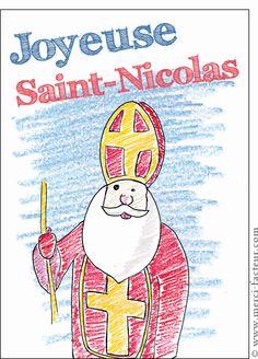 Carte Saint Nicolas au crayon de couleur pour envoyer par La Poste, sur Merci-Facteur !