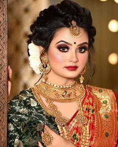 Indian Bridal Photos, Indian Bridal Fashion, Bengali Bridal Makeup, Pakistani Bridal, Bengali Wedding, Pakistani Dresses, Beautiful Girl Photo, Beautiful Bride, Black And Silver Eye Makeup