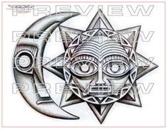 awesome stone moon and sun tattoo design