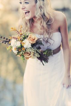 Be natural. For a beautiful woodland themed bridal bouquet, mix different florals— include natural colors and a variety of textures!