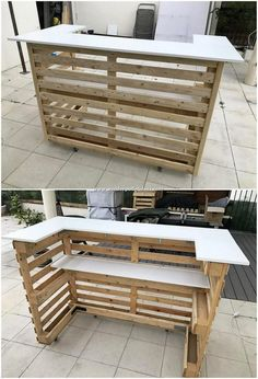 pallet ideas Are you ready to surprise everyone at your home with the heart-winning designing of an ideal pallet wooden counter? This is one of the latest wooden counter design that you c Pallet Furniture Designs, Pallet Garden Furniture, Recycled Furniture, Recycled Wood, Diy Furniture, Garden Pallet, Furniture Stores, Pallet Furniture For Outside, Furniture Plans