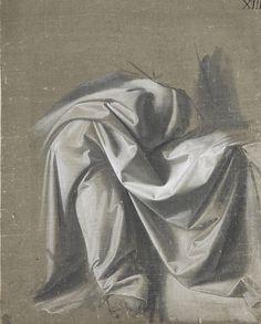 Drapery study by Leonardo da Vinci (1452-1519)   240x193mm.  Fondation Custodia, Paris