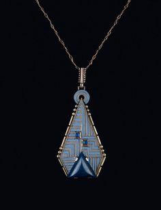 Theodor Fahrner, Art Deco Pendant, 1930. Lapis Lazuli, Silver, enamel. Pforzheim, Germany. On auction: Quittenbaum.Design is fine. History is mine.