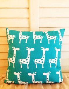 18 x 18 Teal Giraffe Decorative Pillow on Etsy, $18.00