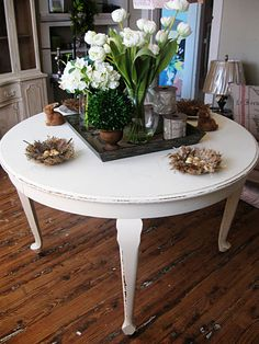 Repainted round kitchen table - CNS