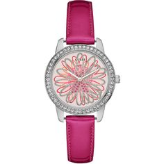 GUESS 2015 Sparkling Pink Leather Watch Benefiting Breast Cancer... ($95) ❤ liked on Polyvore featuring jewelry, watches, guess watches, guess jewelry, analog watches, pink dial watches and daisy jewelry
