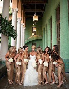Mermaid Sweetheart Bridesmaid Dresses, Split-Side Bridesmaid Dresses,Sparkly Gold#BridalDresses #WeddingGowns #Wedding #WeddingDresses