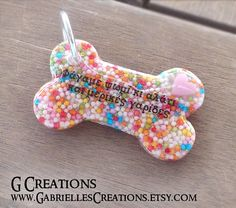 Colorful Sprinkles 'n' Heart Bone Dog ID by GabriellesCreations
