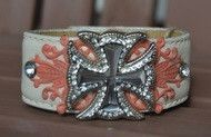 White & Coral Cross Leather Cuff Bracelet
