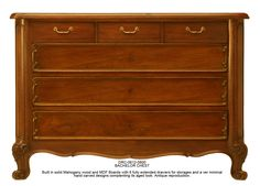 DRC-0612-0800 BACHELOR CHEST Built in solid Mahogany wood and MDF Boards with 6 fully extended drawer for storage. Antique reproduction.