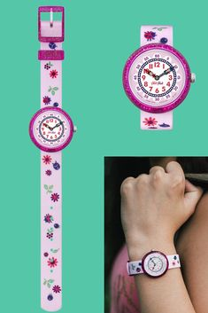 Clear, oversized dials and a fun, fearless design mean that this pleasing pink watch for kids has all that a young adventurer needs. Bugs and glitter accents make AUTUMN COLOURS (ZFBNP093) the ideal gift for an outdoorsy kid, and this flower wrist watch is designed specifically for little ones to learn how to tell the time. Pink Watch, Autumn Colours, Telling Time, Blogger Themes, Swatch, Adventurer, Purple, Bugs, Gifts