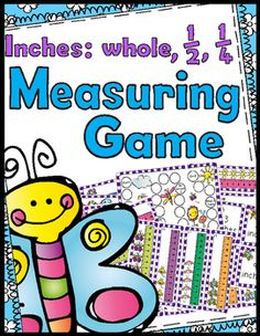 Spring/Garden themed measuring game - inches, 1/2 inches, & 1/4 inches32…