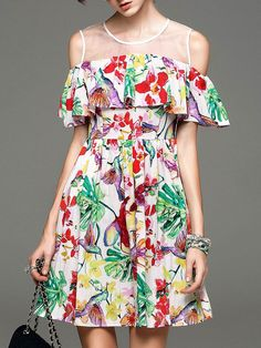 Multicolor+Gauze+Ruffle+Print+A-Line+Dress+51.99