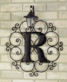 Metal Monogram Solar Light Wall Art Hanging Decor Scrollwork Frame 12 Letters | eBay