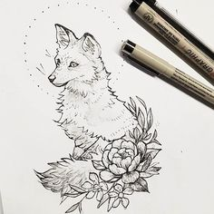 Quick foxy sketch that could be polished into a tattoo! - Quick foxy sketch that could be polished into a tattoo! Tattoo Sketches, Tattoo Drawings, Drawing Sketches, Art Drawings, Drawing Tips, Drawing Poses, Drawing Ideas, Animal Sketches, Animal Drawings