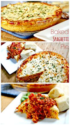 Baked spaghetti pie to the dinner rescue! Creamy, four cheese baked spaghetti topped with a homemade spaghetti meat sauce. So easy to make and leftovers are just as good, if not better.