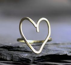 heart ring gold silver heart ring modern ring by museglass on Etsy