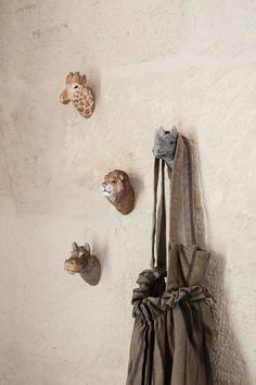Lion | Hand-Carved Animal Hook | Storage